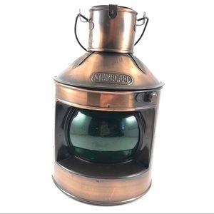 Copper Starboard Green Lantern Light Nautical Deco
